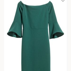 H&M Dark Green Off-Shoulder Dress with Bell Sleeve